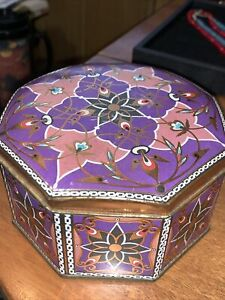 Vintage Purple Kaleidoscope Decorative Metal Tin Octagon Box Meister Brazil