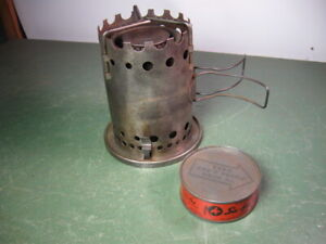 """OLD VINTAGE CAMP STOVE SMALL RARE VULCAN """"SAFETY-CHEF"""" SOLID FUEL TYPE"""