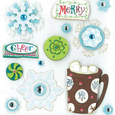 K&COMPANY DIMENSIONAL 3D SCRAPBOOK STICKERS WINTER SNOW DAYS COCOA