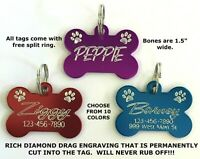 Custom Engraved Bone Paw Print Pet Tag Dog Cat ID Name Animal -10 COLORS PREMIUM