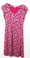 Ladies White Stuff Short Sleeve Dress A Line Pink Summer Fashion Holiday Sz 10