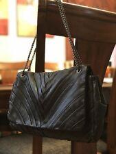 New Elie Tahari Black Leather Fold Bag Purse Chain Handles Large