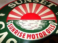 """VINTAGE """"SUNSET GASOLINE & SUNRISE MOTOR OILS"""" 11 3/4"""" PORCELAIN METAL OIL SIGN!"""