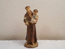 """Vintage Hard Rubber Figurine Of Monk Priest Holding Child ~ Italy ~ 5 3/4"""" Tall"""