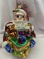 "Christopher Radko ""Ready For Christmas""  Santa Glass Ornament 2002"