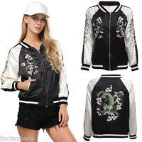 NEW Womens Reversible Floral Satin Embroidered Bomber Jacket Women Baseball Coat
