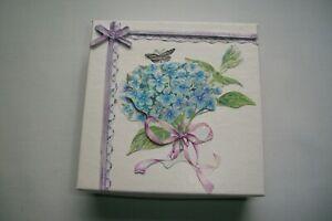 "Hand Decorated ""Blue Hydrangea, Purple Bow"" Jewelry/Gift Card Box, Holder"
