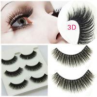 3 Pair 3D Natural Bushy Cross False Eyelashes Mink Hair Eye Lashes Black