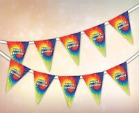 Happy Birthday - Summer Collection - Tie Dye Hippie Festival - Bunting 15 flags