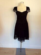 KAREN MILLEN BLACK BROIDERY ANGLAISE COTTON DRESS SIZE 10