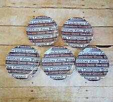"Shafford Signature Series Porcelain Cheese Plates Brown White 6"" Set of 5"