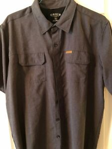 Orvis Gray Microfiber Casting/Adventure Short Sleeve Shirt Men's XLarge NWOT