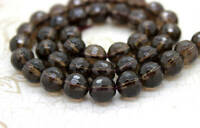 Natural Smoky Quartz Faceted Transparent Round Beads Natural Gemstone