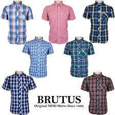 Brutus Hombre Camisas Mod de Cuadros Bolsillo Cuello Camiseta Ligero Suave Gb