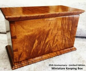 """Hand Made Tiger Maple Dovetailed Mini Wood Box inside dimension 8""""w x 11""""l x 8""""h"""