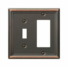 Amerelle  Chelsea  Aged Bronze  2 gang Stamped Steel  Rocker/Toggle  Wall Plate