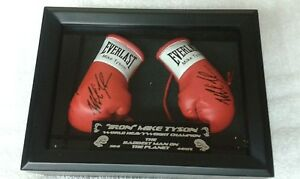 MINI BLACK DISPLAY CASE & BOXING GLOVE WITH MIKE TYSON'S AUTOGRAPH LIMITED PRINT