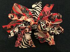 New 6� Custom Boutique Hairbow Disney Minnie Mouse Zebra Print Animal Kingdom