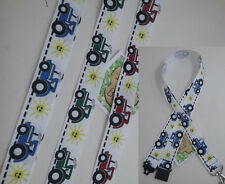 TRACTOR red green blue pattern ribbon lanyard with safety clip ID badge holder