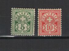 SUISSE Helvetia 1882-99 2 timbres neufs sans gomme & avec charnière  /T3436