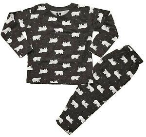 Ex Store Boys Polar Bear Grey Pyjamas Pjs Sleepwear Age 3 4 5 6 7 8 Years NEW