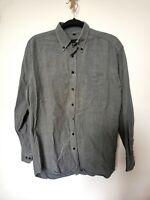 Vintage M Grey Flannel Shirt Heavy Retro Medium Button Down Herringbone Medium S