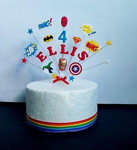 Superhero theme  bang, pow, zap, personalised birthday cake decoration, topper