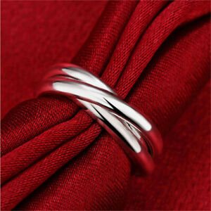 Interlocked Triple Rolling Ring Party Wedding Fashion Jewelry Accessories YI