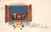 BG8612 clover  boy and girl children neujahr new year greetings germany