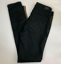 Paige Hoxton Ankle Jeans 27 Black Shadow Gold Tuxedo Stripe Skinny Stretch