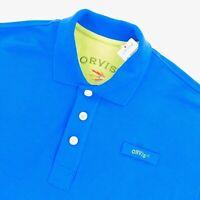 NEW ORVIS Men's Trout Bum Short Sleeve Polo Shirt Royal Blue • Medium