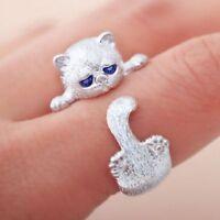 Encantador Ojos De Cristal Azules Anillo Abierto Para Gato Plateado Joyería