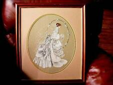 Framed Needlework Picture - The Bride In Bridal Gown -