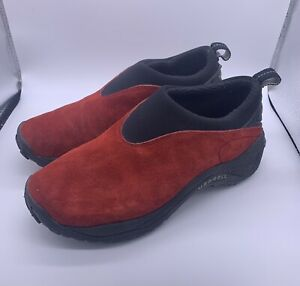 Merrell Women's Orbit Moc Sunset Hiking Trail Shoes Red Suede Slip On US Size 8