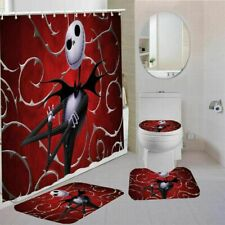 Nightmare Before Christmas Shower Curtain Red Non-Slip Mat Toilet Lid Cover 4PCS