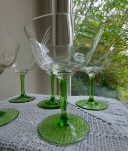 Set of 5 Art Deco Green and Clear Cocktail/Small Champagne Glasses
