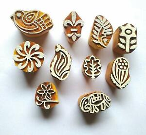 Wooden Printing Block Stamps Decorative Handmade Indian Crafts Pack Of 10 Pcs