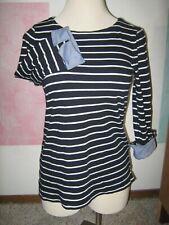 NAUTICA Navy w/ White Stripes Blue Denim 3/4 Sleeve End Cuffs Knit Shirt L