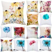 "18"" Flowers Linen Cotton Waist Throw Pillow Case Home Sofa Decor Cushion Cover"
