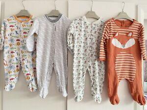 Unisex Baby Boy Girl Jojo Maman Bebe 0-3 Months Babygrow Sleepsuits Animals VGC