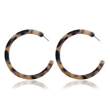 Big C Shape Leopard Print Red Alloy Drop Earrings Acrylic Women Charm Ear Studs