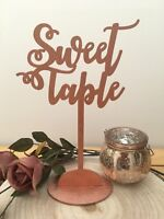 Script Rose Gold Wood table names freestanding sweet table