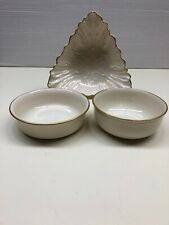 Lot Of 3 Lenox Bowls, One Triangle, Two Special Bowl Ivory Porcelain 24k Gold