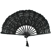 1X(Handmade Cotton Lace Folding Hand Fan for Party Bridal Wedding Decorati Q9T6)