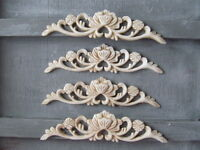 FOUR SHABBY CHIC VINTAGE ROSE DECORATIVE FURNITURE OPAQUE  SWAG MOULDINGS.