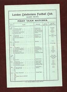 1910/11 London Caledonian Football Club fixture list