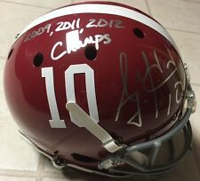 "AJ McCarron Signed ALABAMA Full Size Helmet w PROOF ""2009, 2011, 2012 Champs"""