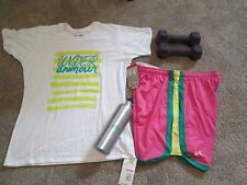 NEW Womens UNDER ARMOUR 2Pc Outfit Wht Graphic w/Ylw UA+PINK Shorts MD FREE SHIP