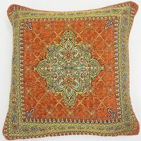"""2 X TERRACOTTA ORANGE GOLD AZTEC TAPESTRY CHENILLE THICK 18"""" CUSHION COVER"""