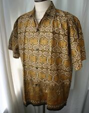 Vintage Indonesia Gold Print Short Sleeve Mens Shirt Xl